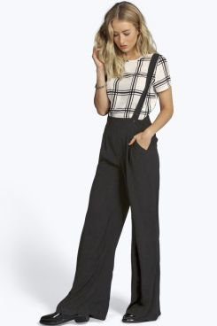 ab29553548 Sophie Dungaree Wide Leg Trousers at boohoo.com