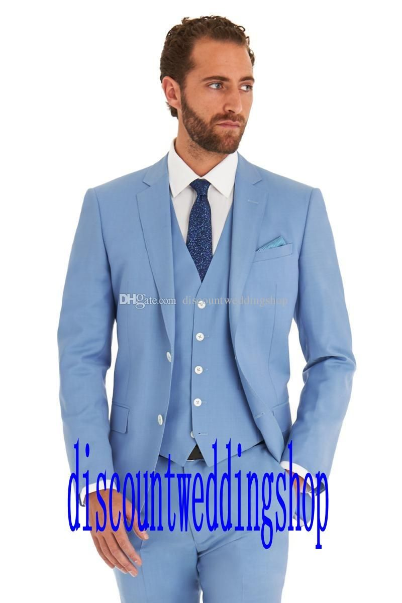 Groom Tuxedos Side Slit Two Buttons Sky Blue Notch Lapel Groomsmen ...
