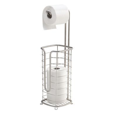 Home Basics Free-Standing Dispensing Toilet Paper Holder Bronze Bath Tissue Organizer Bathroom Accessory and Storage