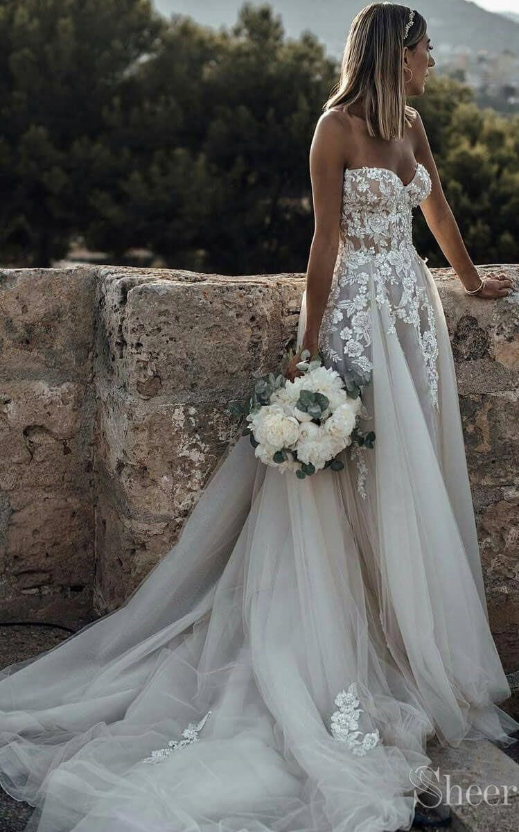 A Number Of These Brides Are Lucky They Might Browse High And Low Braving Chilly Department Store In 2020 Boho Wedding Dress Lace Wedding Dresses Lace Rustic Wedding