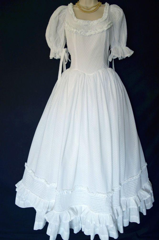 Vintage Laura Ashley White Cotton Voile Victorian Romance Wedding Dress Uk 8