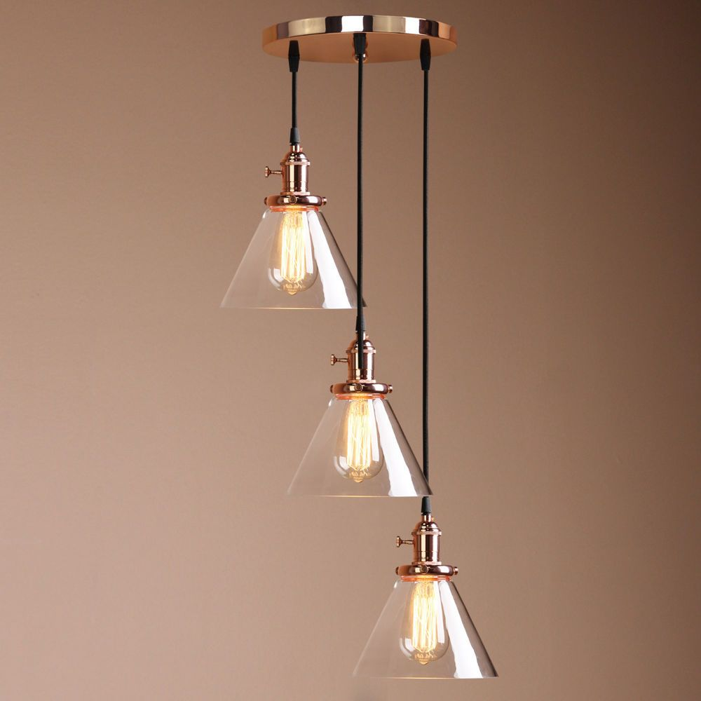 Copper 3 Ceiling Light Cluster Pendant Lamp Fittings Vintage Antique Chandelier