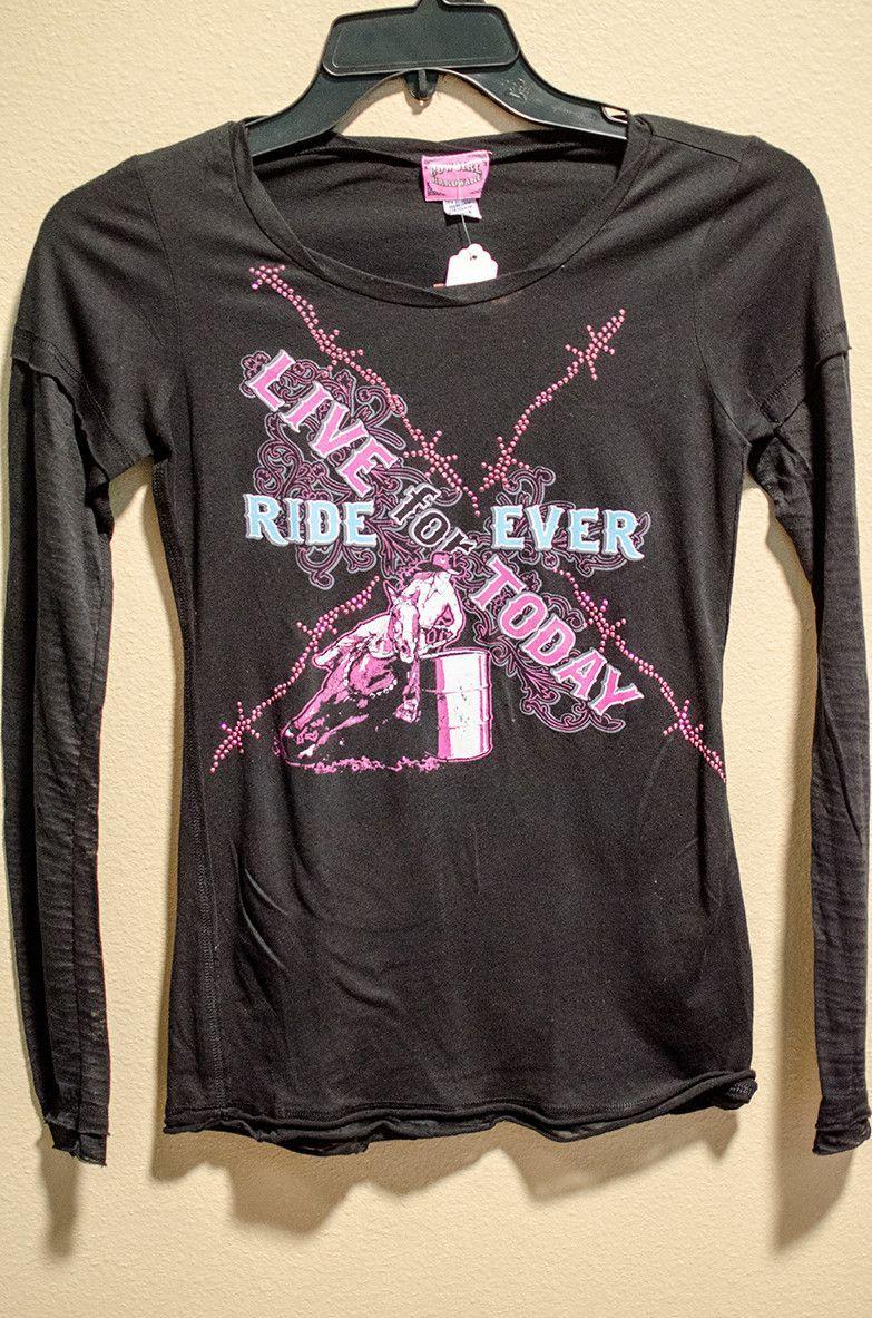 Cowgirl Hardware Girl's Barrel Racer Long Sleeve T-Shirt