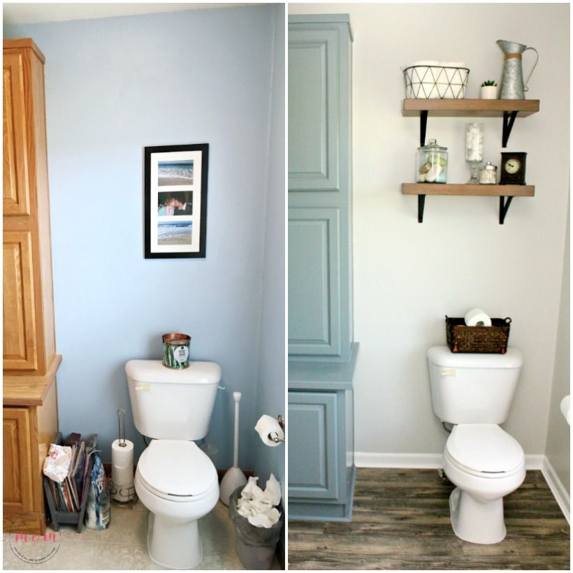 Easy Farmhouse Rustic Shelves Above The Toilet Make The Most Of Often Unused Space Check Out Must H Fixer Upper Bathroom Bathroom Redecorating Budget Bathroom