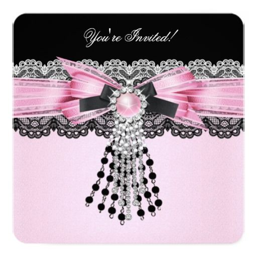 Elegant soft pink black diamond lace party invitation - Motif anniversaire a imprimer ...