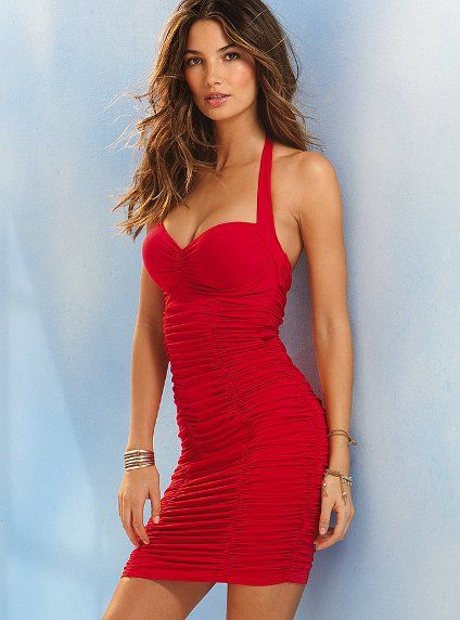 7bac04eb78 Bombshell™ Halter Push-Up Ruched Bra Top Dress in Red - Victoria s Secret