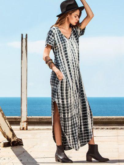 Tie-dye V Neck Short Sleeve Split Long Dress -SheIn(Sheinside) Mobile Site