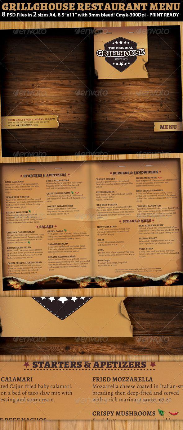 Grill Restaurant Menu Template | Pinterest | Restaurant menu ...