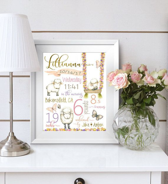 Birth stats personalized baby gift nursery decor birth birth stats personalized baby gift nursery decor birth announcement baby girl negle Image collections