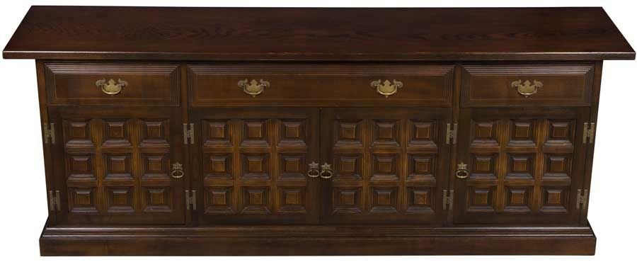 Long Console Cabinet Jacobean Paneled Doors