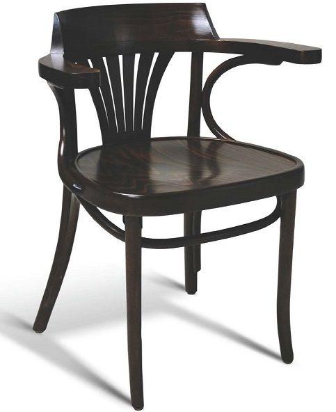 Bent Wood Arm Chair; European Beech Fan Back Upholstered Chair