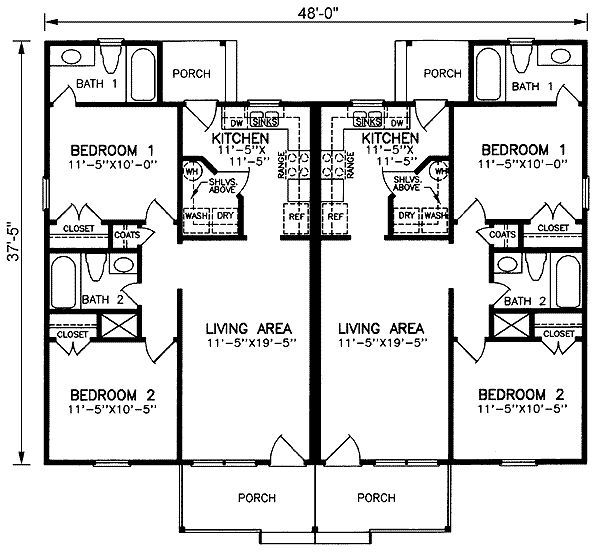 Cottage Style House Plan 2 Beds 2 Baths 1616 Sq Ft Plan 497 13 Duplex Plans Duplex Floor Plans Duplex House Plans