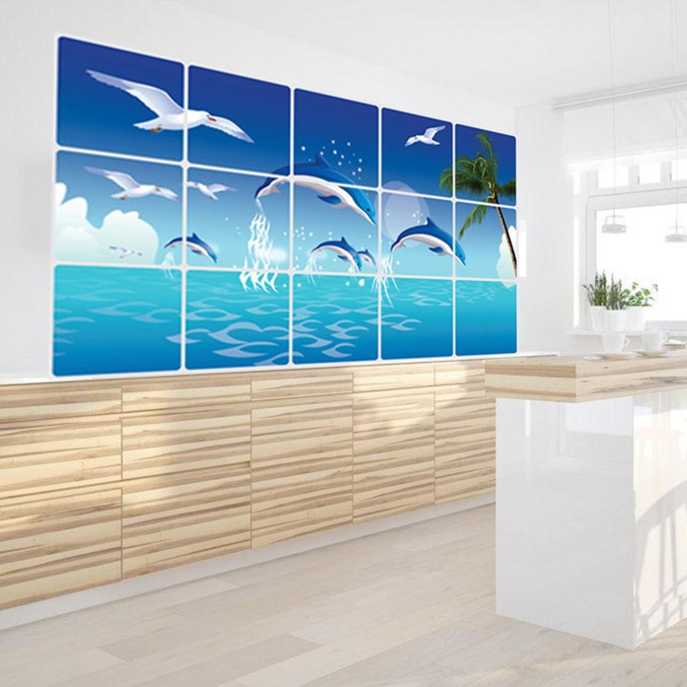 1Pc Waterproof Bathroom Kitchen Wall Sticker Tile Aluminum Foil Home ...