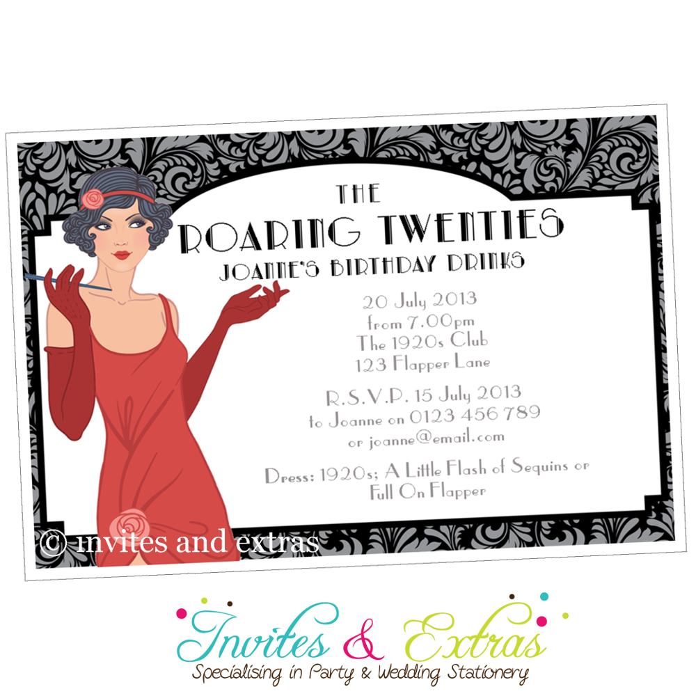 Roaring 20s party invitation personalised the great gatsby roaring 20s party invitation personalised monicamarmolfo Image collections