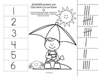 FREE*** - 4 cut and paste worksheets with a Summer theme. Match 10 ...