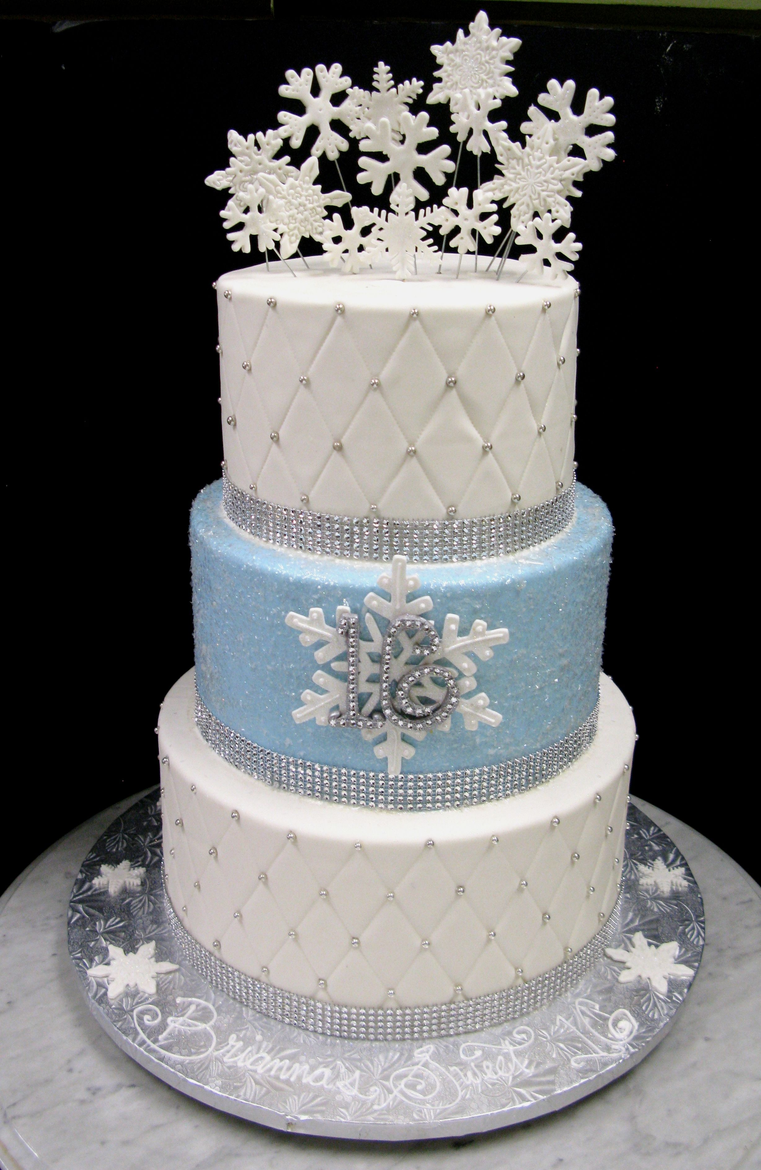 Winter Wonderland Snowflake Sweet 16 Birthday Cake