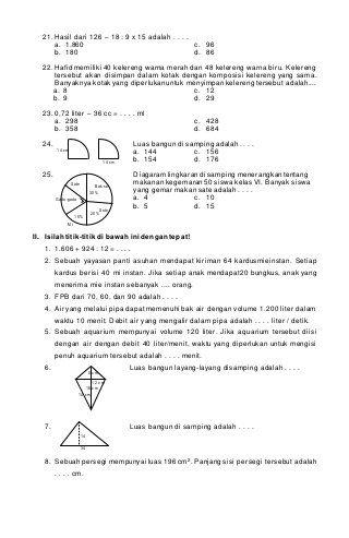 Soal PTS Matematika Kelas 6 SD/MI Semester 1 K13 Edisi 2020-2021