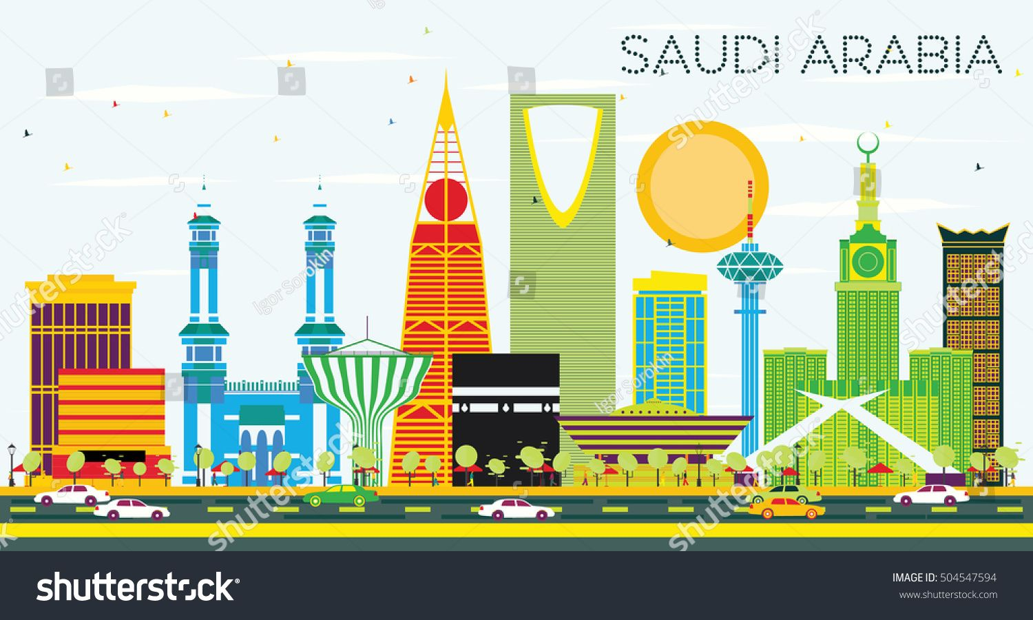 Saudi Arabia Skyline With Color Landmarks And Blue Sky Vector Illustration Business Travel And Touris In 2020 City Skyline Silhouette Saudi Arabia Skyline Silhouette