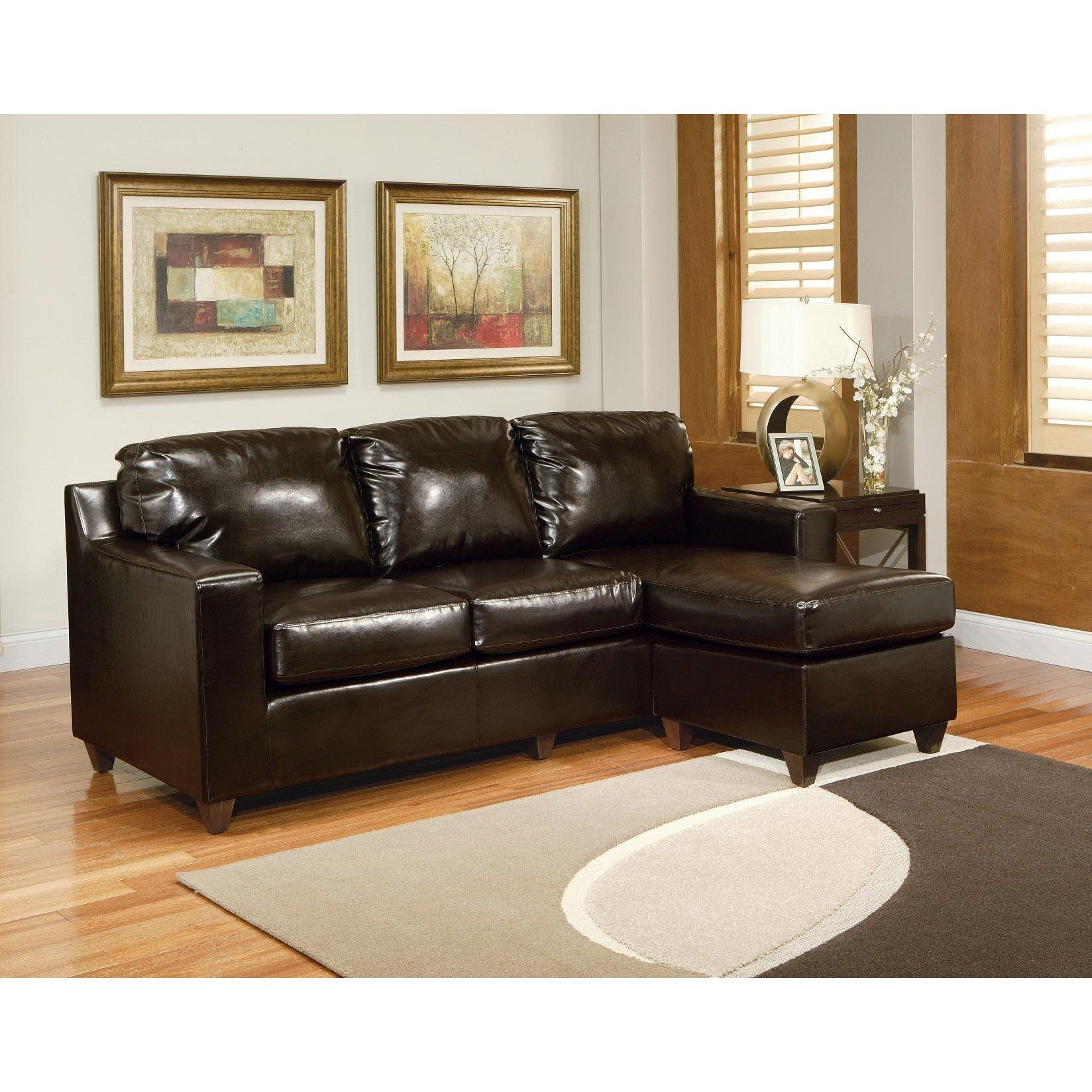 Fabulous Espresso Bycast Leather Multifunction Reversible Sectional Evergreenethics Interior Chair Design Evergreenethicsorg