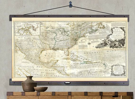 Map of North America  Hanging or Pull Down Map  60 h x 44 w  Old     Map of North America  Hanging or Pull Down Map  60 h x 44 w  Old School  Chart  Vintage Wall Map  Antique wall map  Pull Down Map 1775