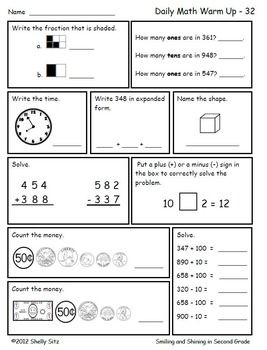 Math For Second Grade Second Trimester Daily Math 2nd Grade Math Worksheets Mental Math