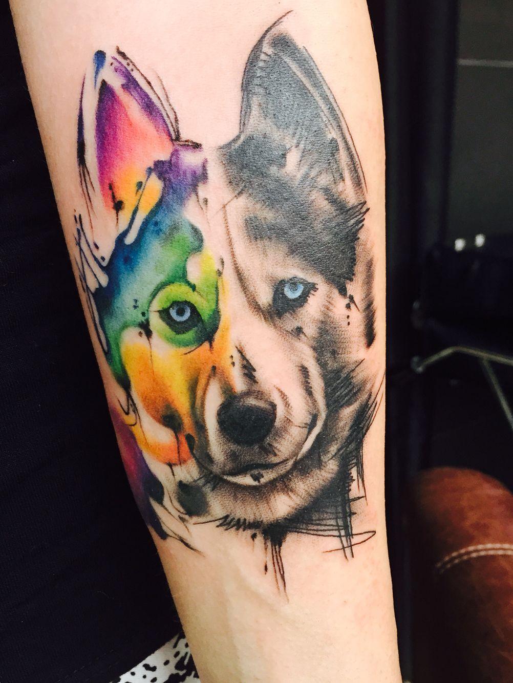 Husky Wolf Watercolour Tattoo Art Dog Tattoos Husky Tattoo