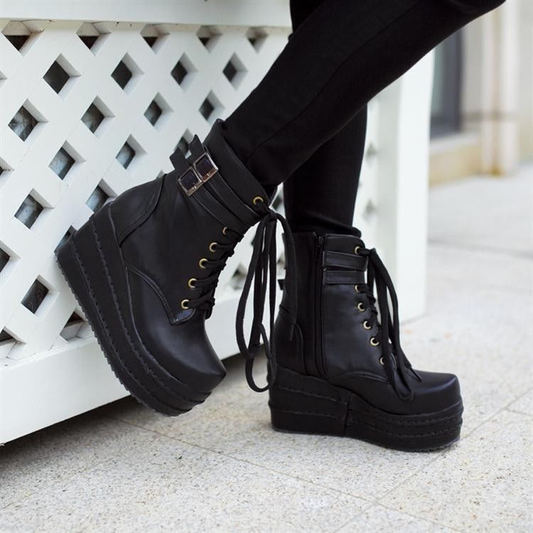 647996f2b90a Womens Platform Wedges Buckle Decor Lace Up Ankle Boots Punk Goth Creeper  Shoes  PlatformsWedges
