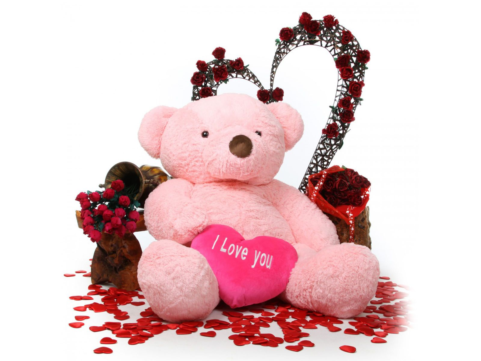 Teddy Bear With Rose Heart Hd Wallpapers 1080p