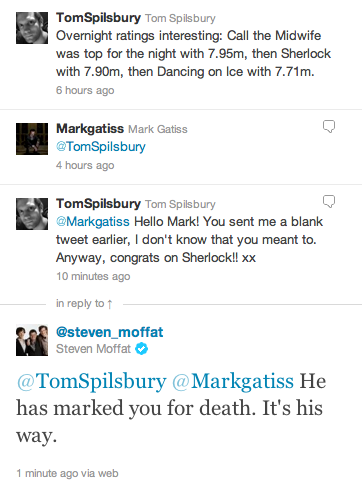 My name is Mark Gatiss and I will kill again.