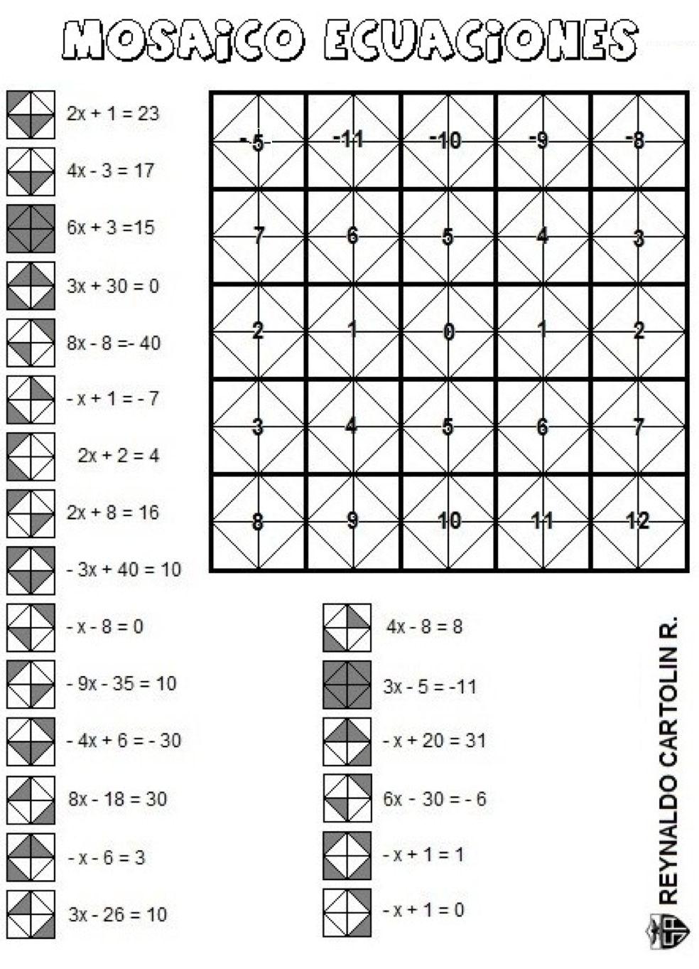 En la siguiente ficha trabajamos 21 ecuaciones de primer grado y con ...