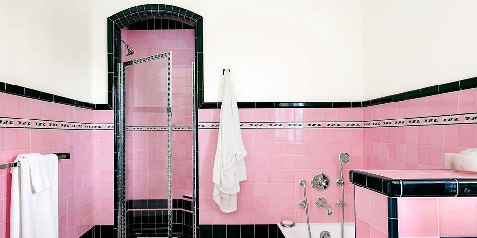 Bathroom Designed Alluring Two Bathrooms With Bold Tile  Pink Bathroom Tiles Bathroom Design Decoration