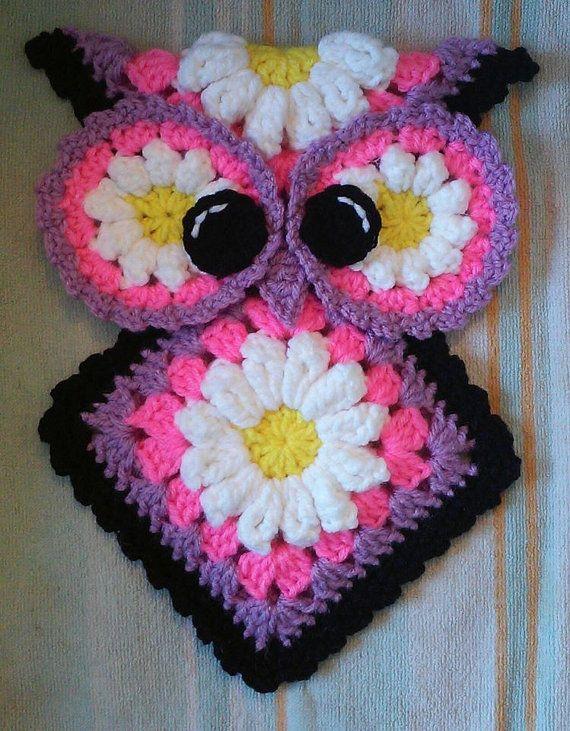 Crochet Miss Daisy Owl Potholder Pattern only | Agarraderas, Tejido ...