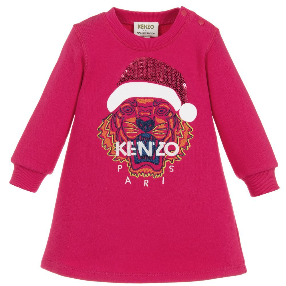 eec12a7f Girls Pink Cotton Tiger Dress for Girl by Kenzo Kids Exclusive Edition.  Discover more beautiful designer Dresses for kids online