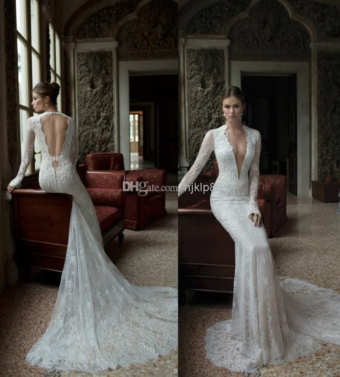 Simple Elegant Open Back Long Sleeve Wedding Dress: Discount Sexy Deep V-Neck Lace Backless Mermaid Berta