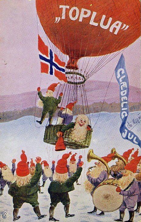 """Fra starten av 1900-tallet var skikken med å sende julekort blitt vanlig i Norge. """"Glædelig Jul"""" Nisser og norsk flagg var et vanlig motiv. Pinned from https://www.facebook.com/DetGamleNorge?fref=photo"""
