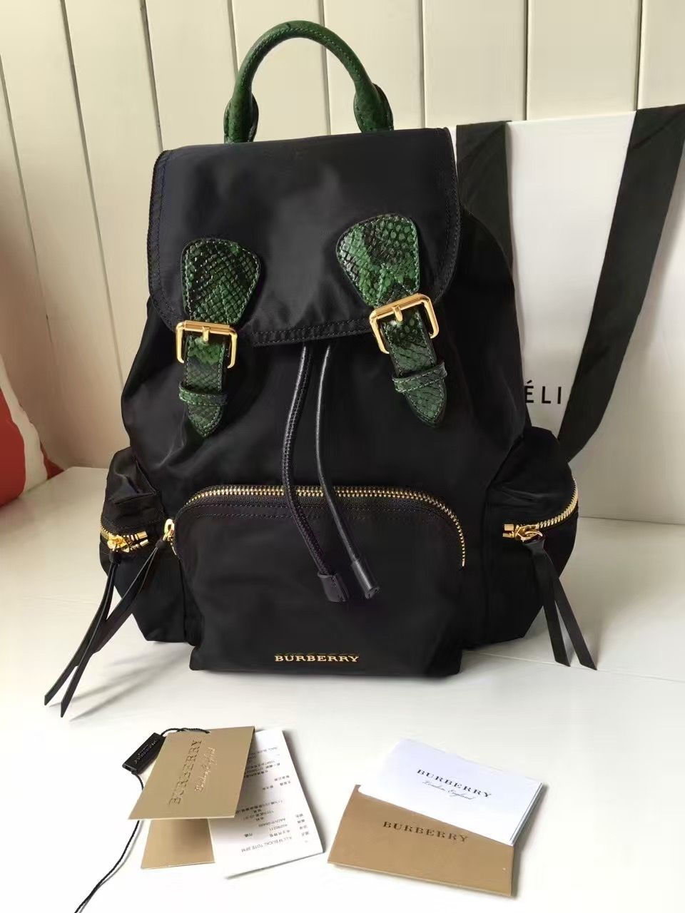 4cc7445a103 Burberry Medium Rucksace In Technical Nylon and Snakeskin Black 2016  Burberry Backpack