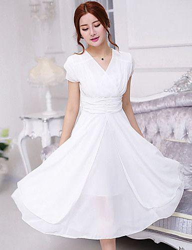 De las mujeres Tallas Grandes   Gasa   Corte Swing Vestido Casual Diario  Simple 8e54d4296a0c