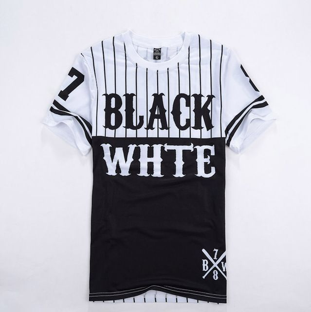 7447c03a 2016 Summer Number 78 Black White Patchwork men Tshirt Baseball Tee Shirts  Man Hip Hop Clothes Short Sleeves Sport Camisetas
