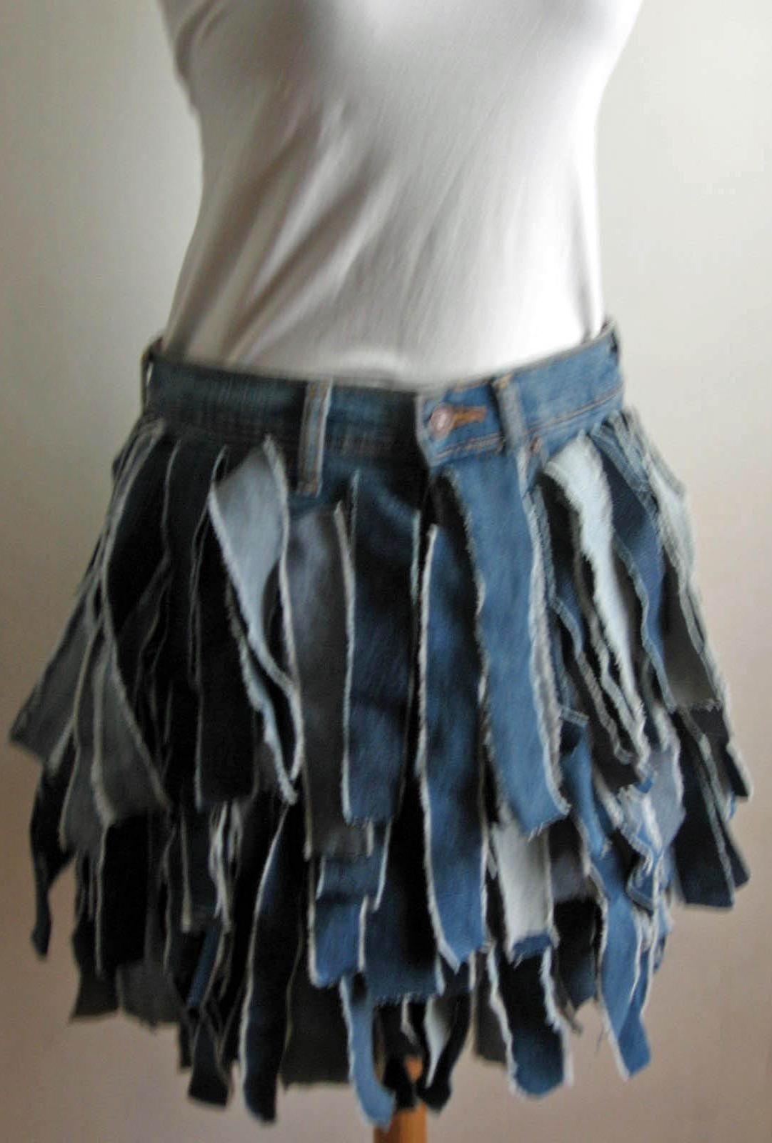 ba118296f13ce2 Blue Denim Skirt - Sustainable Shredded Fringe Denim Skirt USTrendy Blue  Denim Skirt, Jean Skirt