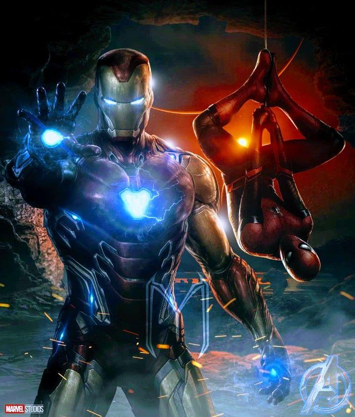 Spider man iron man avengers end game marvel fondo for Sfondi iron man