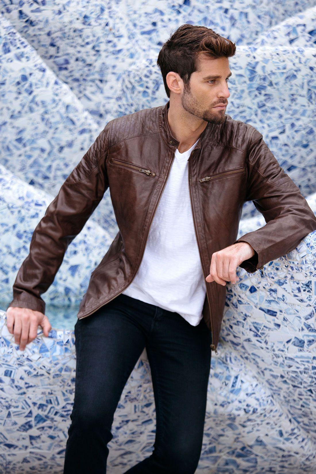 Cafe Racer Brown Leather Jacket Mens Genuine Leather