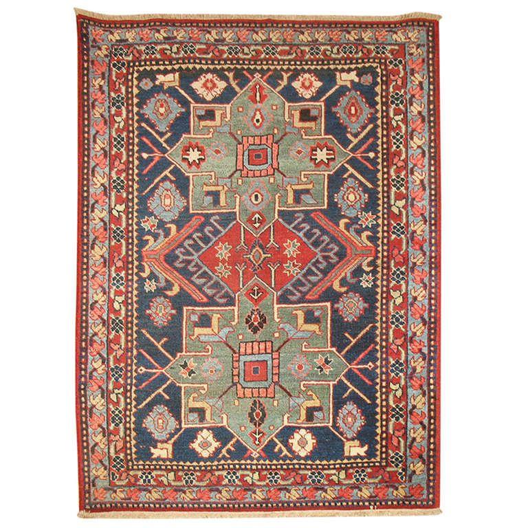Antique Persian Serapi Small Rug