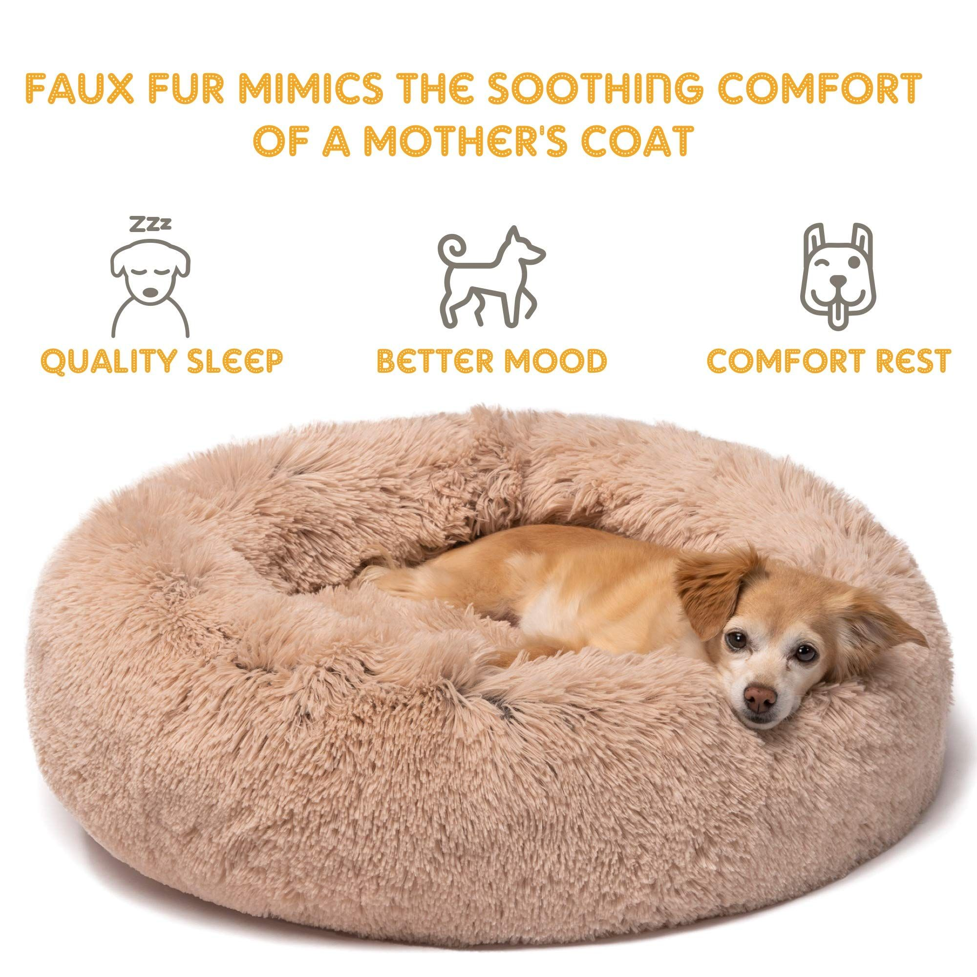 Friends Forever Calming Bed For Dogs Learn More By Visiting The Image Link It Is An Affiliate Link To Amaz Faux Fur Pet Bed Soft Dog Beds Faux Fur Dog Beds