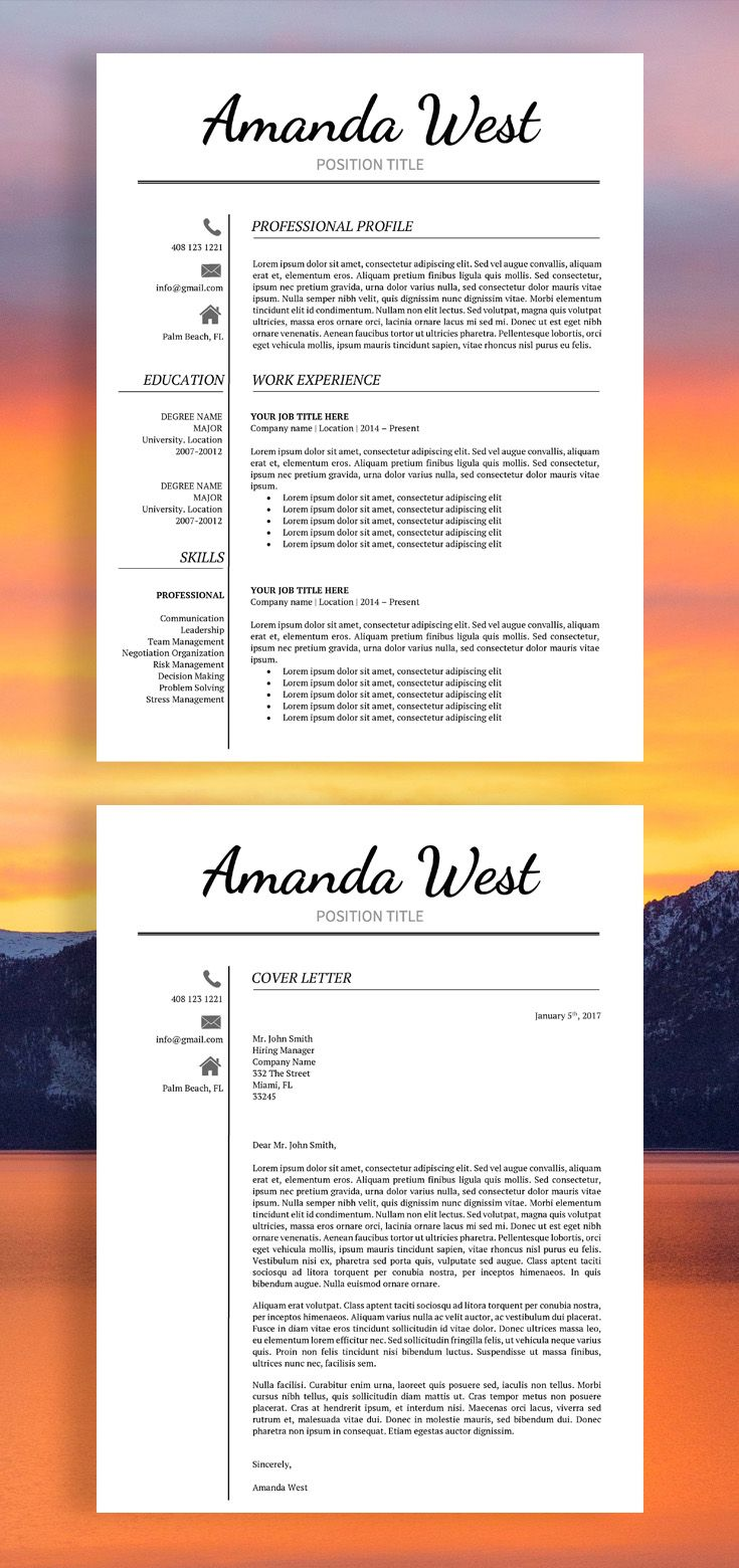 Resume Cv Resume Template Modern Resume Template Professional