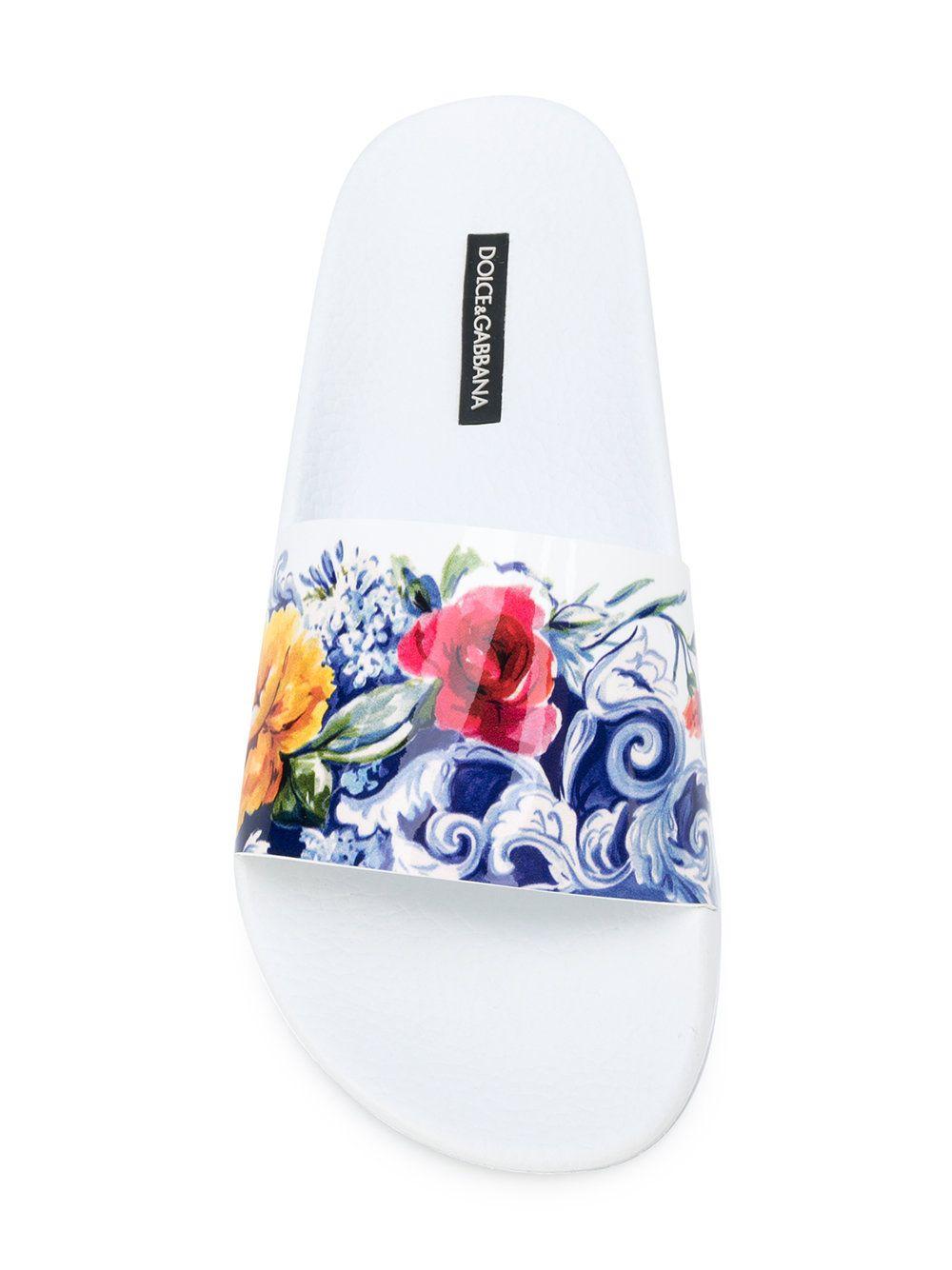 ffae13fa13de Dolce   Gabbana Majolica print pool slides Floral Print Shoes