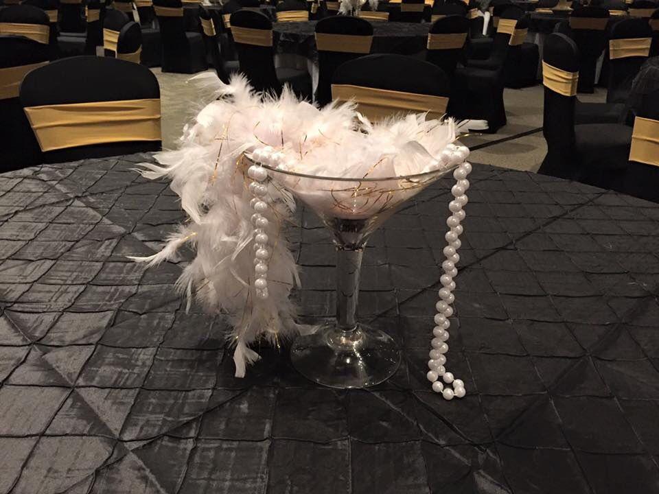 S martini feather boa and pearls centerpiece decor