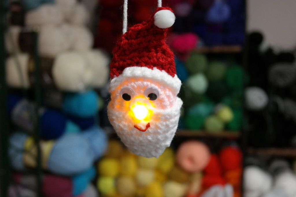 Lighted Santa Ornament Free Pattern Holiday Crochet Christmas