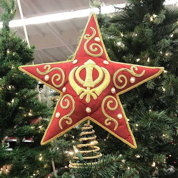 Khanda Tree Topper Etsy Tree Toppers Star Tree Topper Festive Ornaments