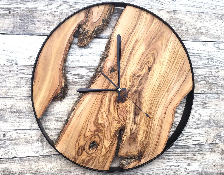 Wood Wall Clock Wooden Clock Natural Wood Clock Wooden Wall Clock Clocks For Wall Rustic Wall Clock Unique Wall Clock Wooden Wood Wall Clock Wooden Clock