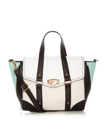 White Colourblock Winged Satchel - New Look